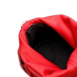 Image 4 - 2020 אופנה יוקרה נשים 11.5cm גבוהה עקבים פטיש מסמרות משי גרב מגפי פגיון קרסול מגפי Scarpins משובץ אדום האביב נעליים
