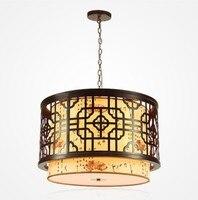 Китайский стиль деревянные лампы гостиная огни спальня лампа овчины классическая столовая подвесной светильник ZS68