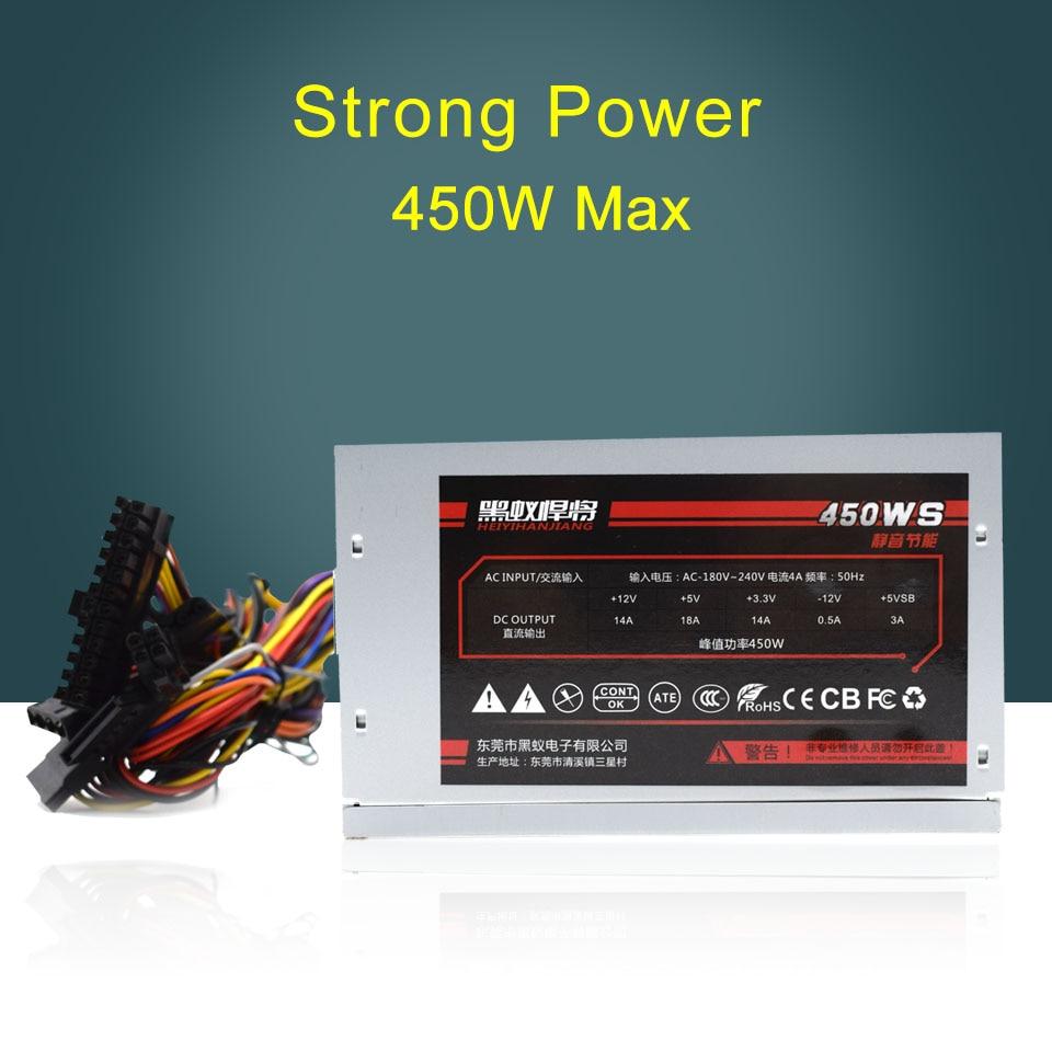 Original 450W Mute Energy-saving AC-180V-240V 4A 50Hz Desktop Computer Power Supply original bronze rated 550w peak 650w power supply mainframe computer desktop mute seconds 650w 600w