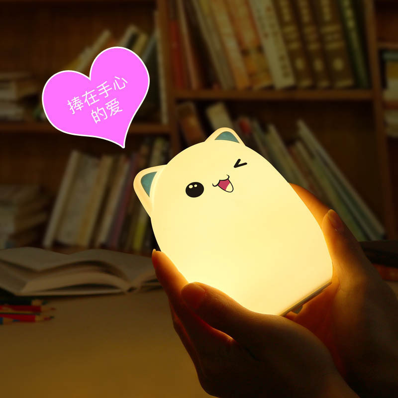 Colorful light cartoon cute animal silicone LED night light with UBS charging for children baby kids bedroom touch sensor light