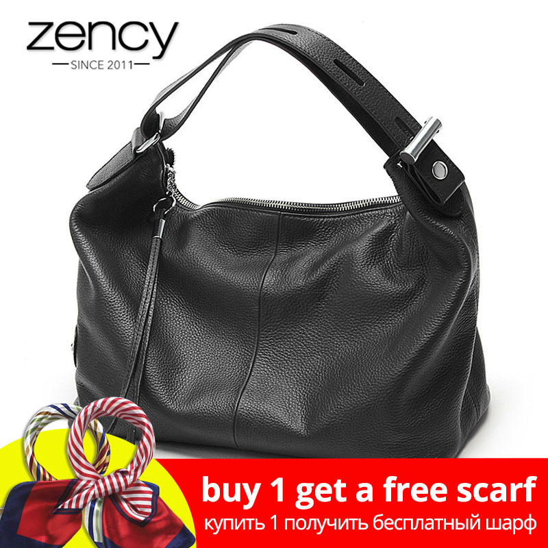Zency 100% äkta läder OL Style Women Tote Bag Fashion Lady Shoulder Bags Classic Handväska Satchel Crossbody Messenger Purse