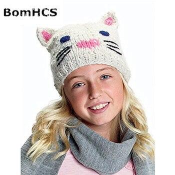 Bomhcs милая одежда для девочек вязаная шапка с чудесными животными