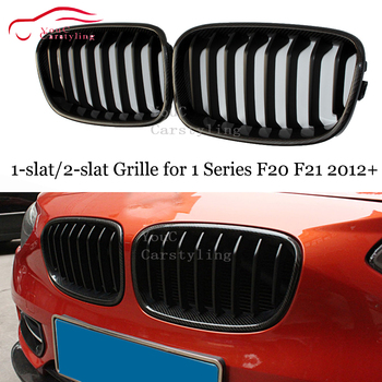 F20 1-פסיס/2-פסיס שחור מבריק M פגוש קדמי גריל עבור BMW 1 סדרת F20 F21 2012 + 5-דלת Hatchback ABS פחמן סיבי גריל רשת