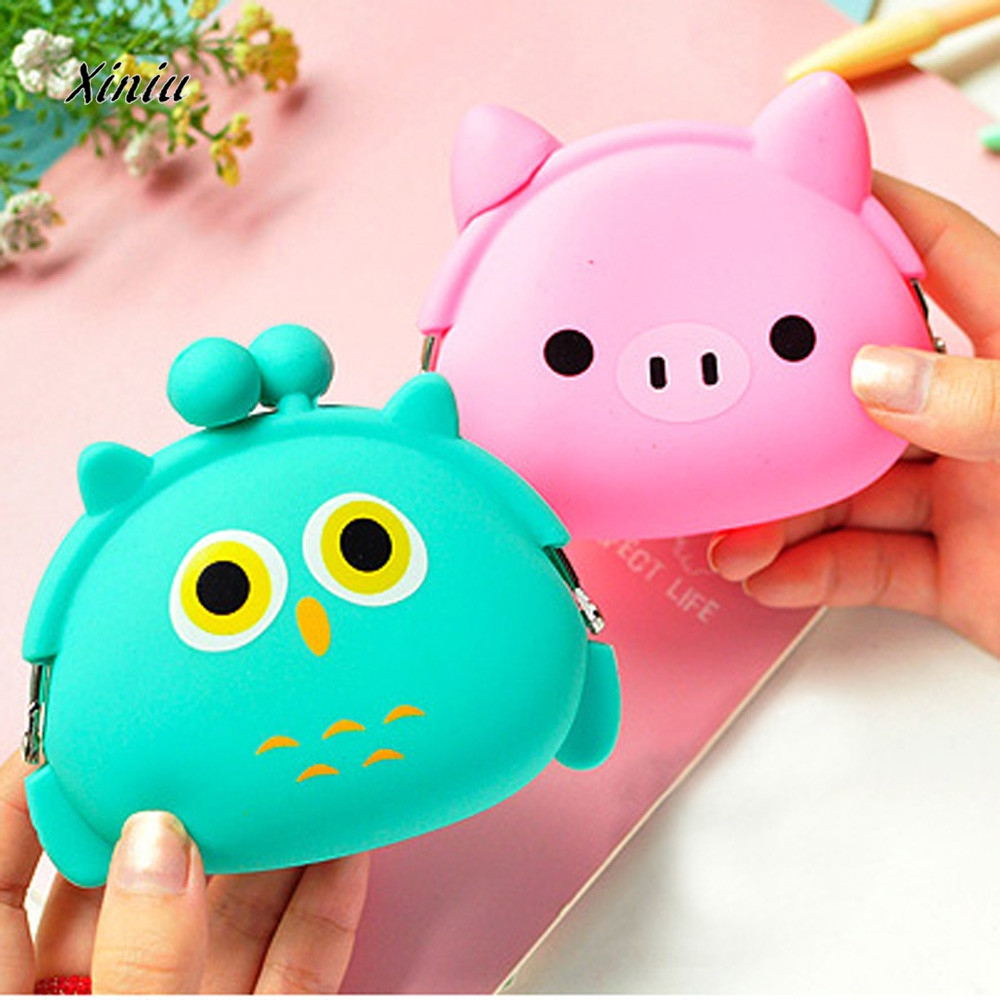 Cute Wallet Kawaii Cartoon Candy Color Silicone Coin Purse Jelly Coin Purse Key Wallet Earphone Organizer Storage Box  pocket свечка объемная procos винни 3 года
