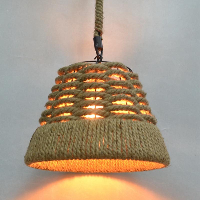 Dia 38cm Nordico Retro Pendant Lights American Country Light Loft Hanging Lamp Hemp Rope