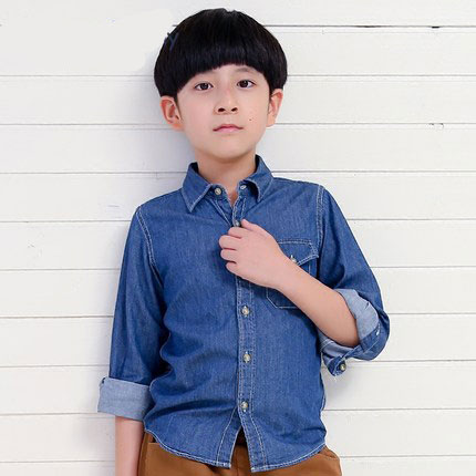 High-quality spring and autumn new childrens clothing boys padded denim casual long-sleeved shirt childrens cotton denim shirtHigh-quality spring and autumn new childrens clothing boys padded denim casual long-sleeved shirt childrens cotton denim shirt