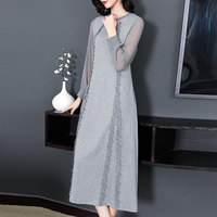 Autumn Women dress Woolen Knitting Slim Wool Long Render Dresses Gray Black 6961
