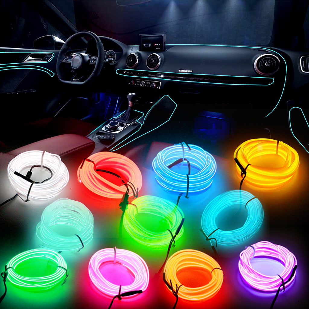 Car Interior Lighting DIY Auto LED Strip Garland EL Wire Rope Tube Line flexible Neon Glow Light 12V USB Cigarette Drive Lamp image