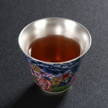 цена на Silver Cup Liner Pure Silver Tea Set 999 Silver Cup Inlaid With Gold Cup Craft Kungfu Ceramic Silver Master Cup