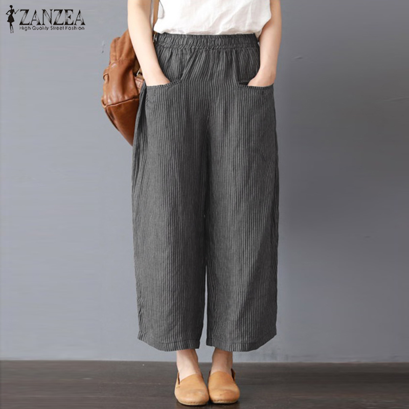 2018 Oversized ZANZEA Casual Harem   Pants   Pantalon Long Trousers Women Elastic Waist Striped Cotton Linen Loose   Wide     Leg     Pants