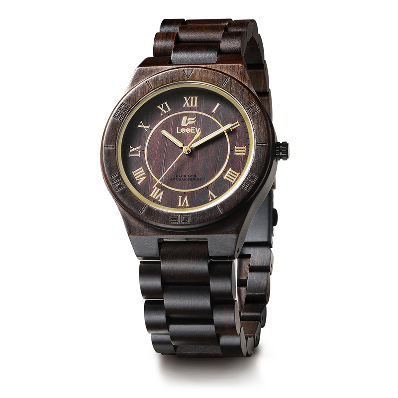 LeeEv EV1918 Mens Handmade Black Sandal Wood Watch Analog Quartz Light Weight Vintage Wooden Wrist Watch