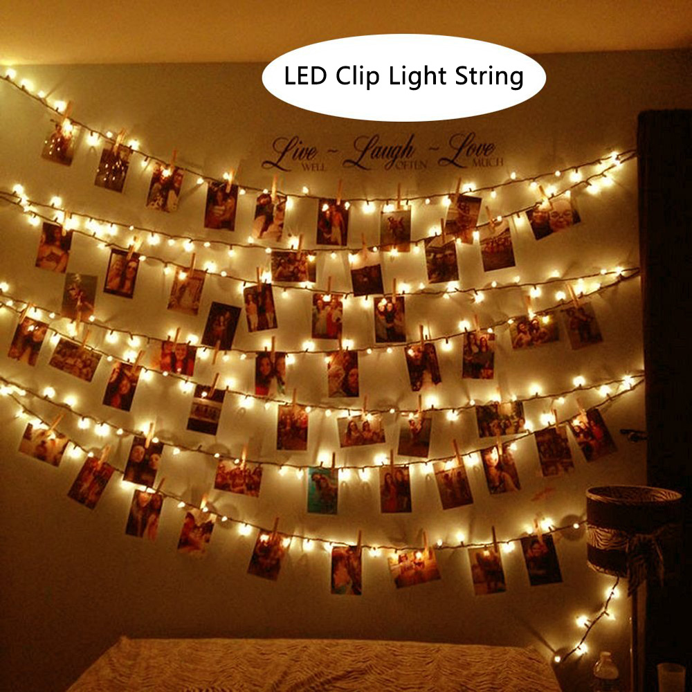 10/20/40/80 LED Photo Clip String Lights Battery Powered&USB Powered Wedding Party New Year Decoration Lights For Indoor/Outdoor