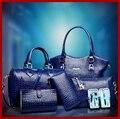 De calidad superior del cocodrilo bolsos de mujer de cuero de alto grado tote bolsa mujeres con 6 sets mujeres bolsas messenger bags comidas valor 10010