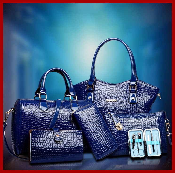 Top quality crocodile women handbags high-grade leather tote women bag with 6 sets bolsas women messenger bags value meals 10010 5 sets new arrived women leather handbags high grade shoulder bag all match fashion women messenger bags clutch lady bolsas 5set