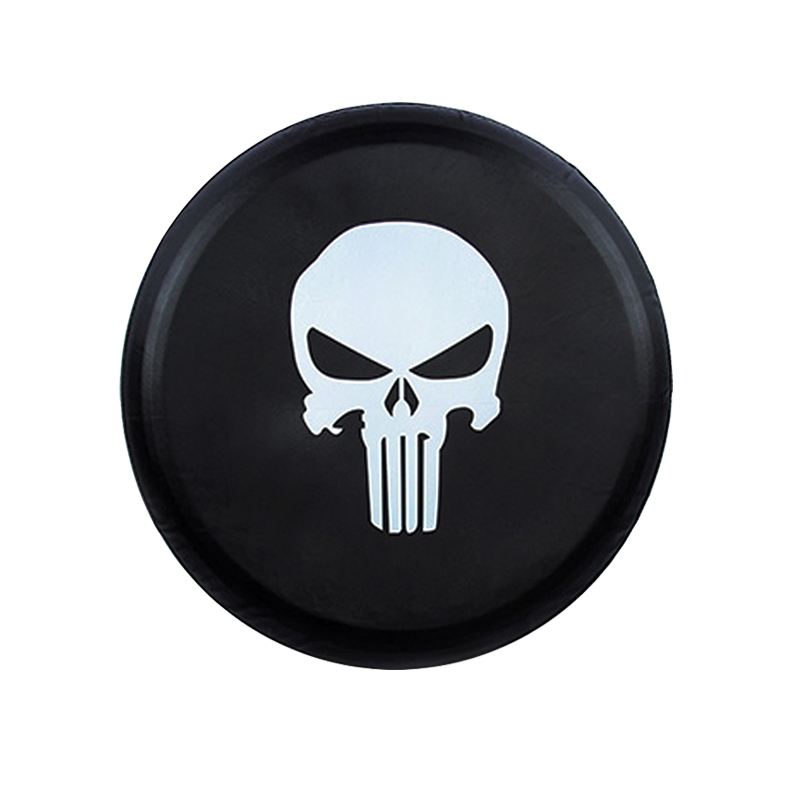 """16/"""" Spare Wheel Cover Tire Covers Skull Image Black Fit For All Car"""