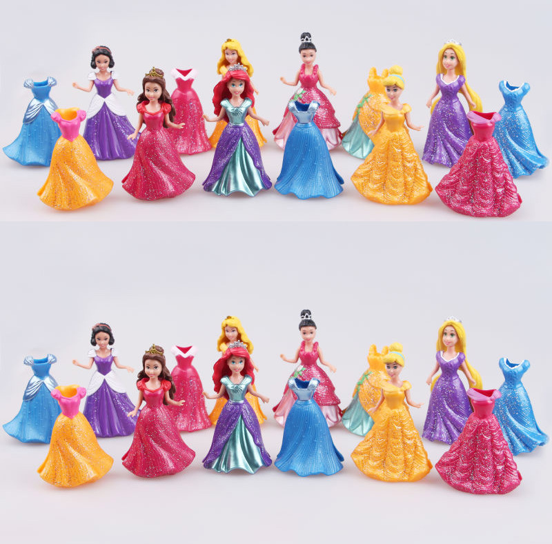 Disney Long Cinderella Snow White Dress Up Detachable dolls Princess 8cm Girl toys Kids ornaments gift 14PCS/ Set disney princess пупс baby cinderella
