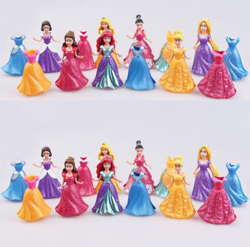 Disney Long Cinderella <font><b>Snow</b></font> White <font><b>Dress</b></font> Up Detachable dolls Princess 8cm Girl toys Kids ornaments gift 14PCS/ Set