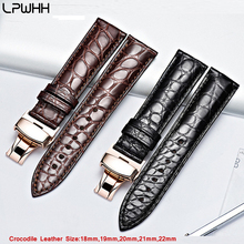 LPWHH Genuine Crocodile Leather Watchband 18mm 19mm 20mm 21mm 22mm Watches Strap Coffee Black Butterfly Buckle Watch Band genuine leather watchband for oris culture aviation watch band butterfly buckle strap wrist belt 18mm 19mm 20mm 21mm 22mm 24mm