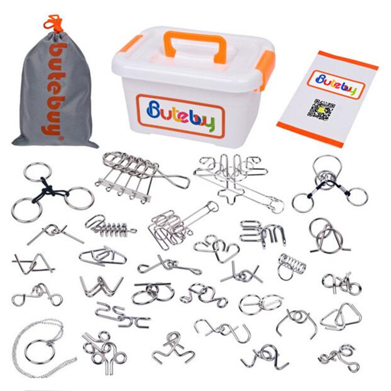 IQ Metal Wire Puzzle Magic Mind Brain Teaser Puzzles Game Toy for Adults Children Gifts,Classic Chinese Ring Puzzle 30 PCS/Set brain games for clever kids puzzles to exercise your mind