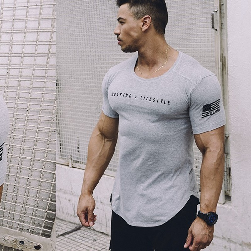 2018 Summer new Men gyms Fitness t shirt Crossfit Bodybuilding Shirts Fashion Casual Male Short sleeve cotton Tees Tops clothing
