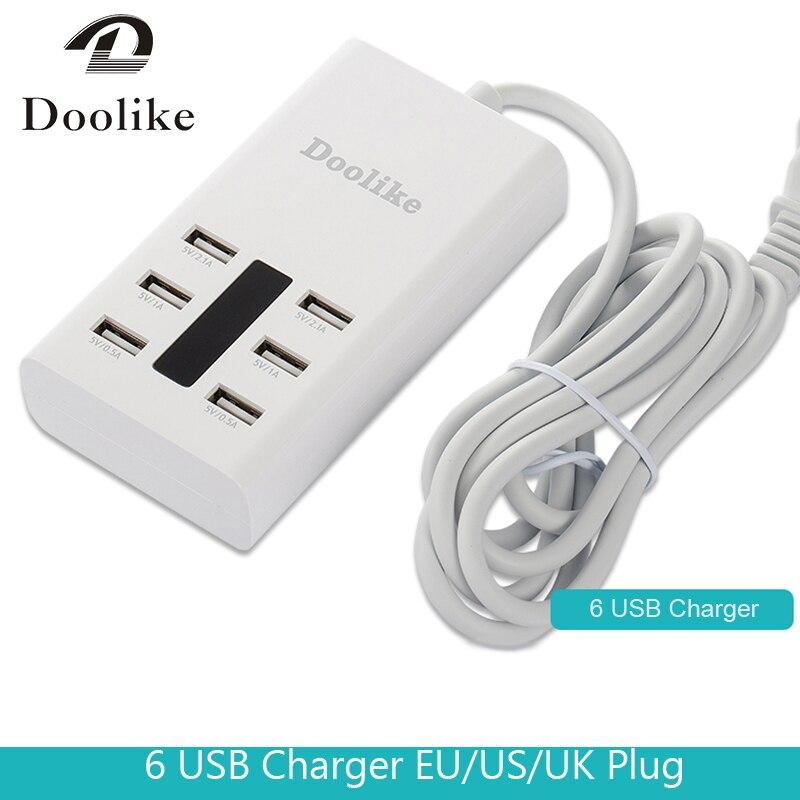 Haute Vitesse 6 Ports USB Chargeur Hub Splitter Universel Multi Ports chargeur EU UK US Plug pour Iphone Ipad Android PC Ordinateur Portable