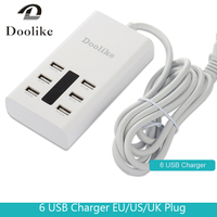 Hoge Snelheid 6 Usb-poorten Oplader Hub Splitter Universal Multi Poorten charger eu uk us plug voor iphone ipad android pc laptop