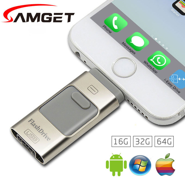 Samget 3 в 1 Micro USB 2.0 Металл Ручка Привода OTG USB Flash Drive Для iphone 5/6/6 plus/7/ipad/Samsung Pendrive 8 Г 16 ГБ 32 ГБ 64 ГБ