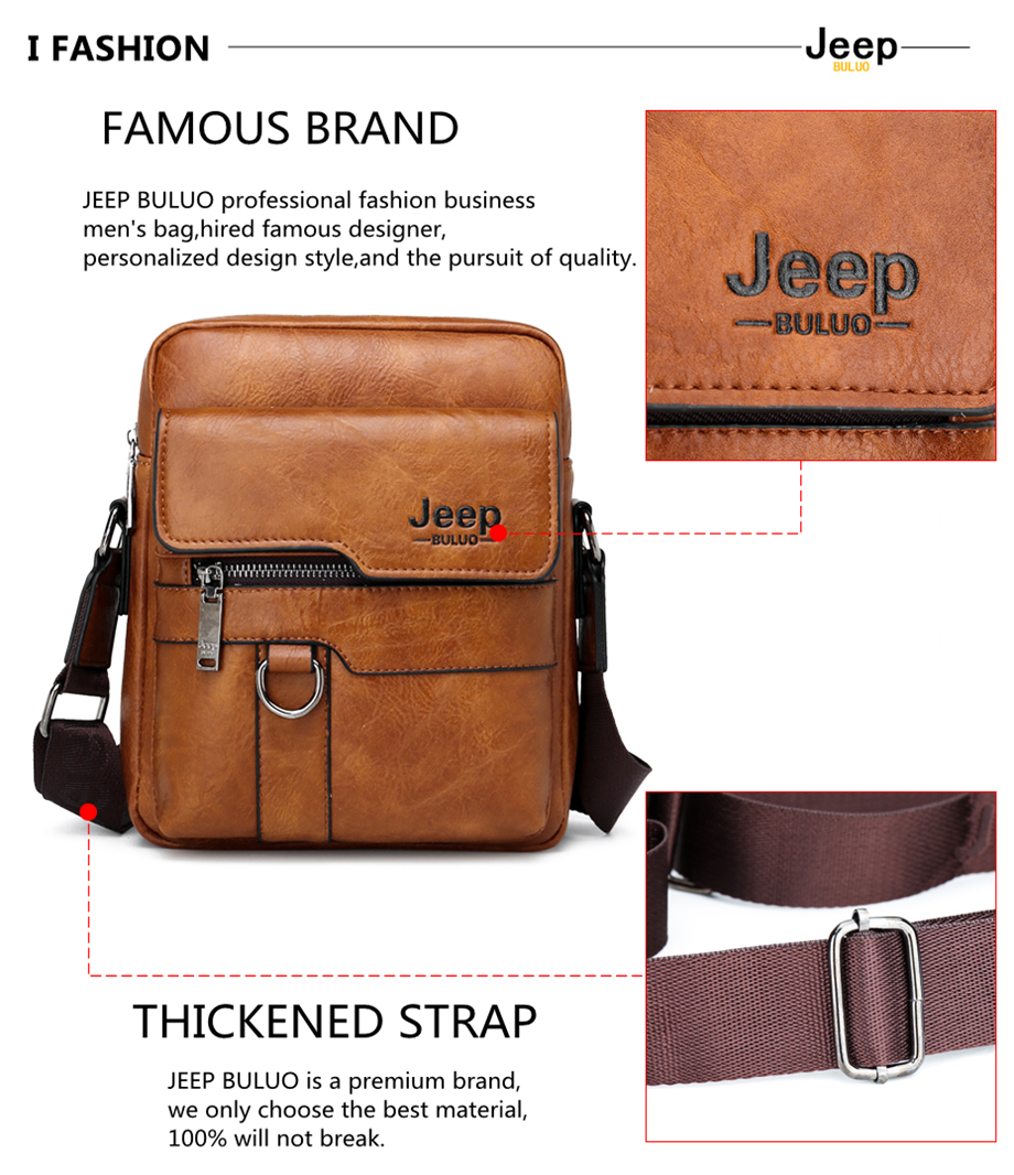 JEEP BULUO Luxury Brand Men Messenger Bags Crossbody Business Casual Handbag Male Spliter Leather Shoulder Bag Large Capacity 18