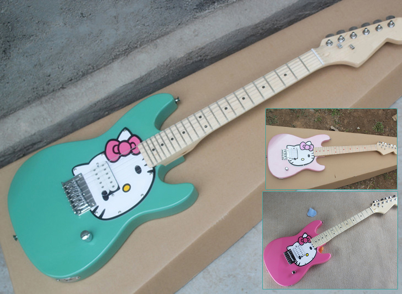 wholesale custom travel children hello kitty mini electric guitar with maple fretboard chrome. Black Bedroom Furniture Sets. Home Design Ideas