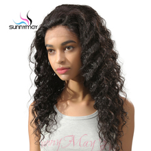Sunnymay 130% Density Glueless Brazilian Deep Wave Human Hair Lace Wigs Deep Wave Lace Front Wigs With Bleached Knots