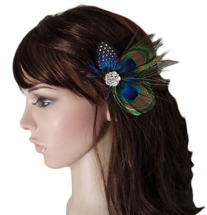 Aliexpress.com Comprar Nueva pavo real pluma Sparkling Rhinestones nupcial pelo de la boda Clip Head Tonsee de clip de la línea de arte fiable proveedores