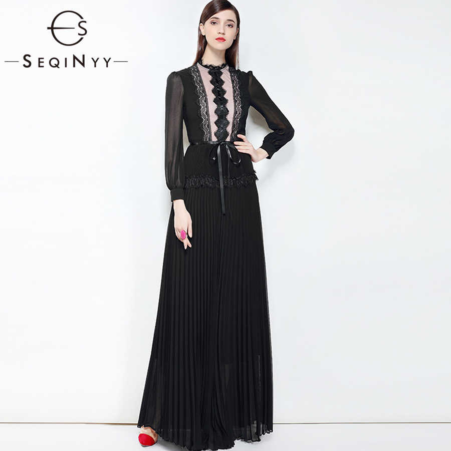SEQINYY Lace Dress 2018 Autumn Winter New Woman Fashion pleated Slim Long  Sleeve Regular Collar Net ab58d34a2e9f