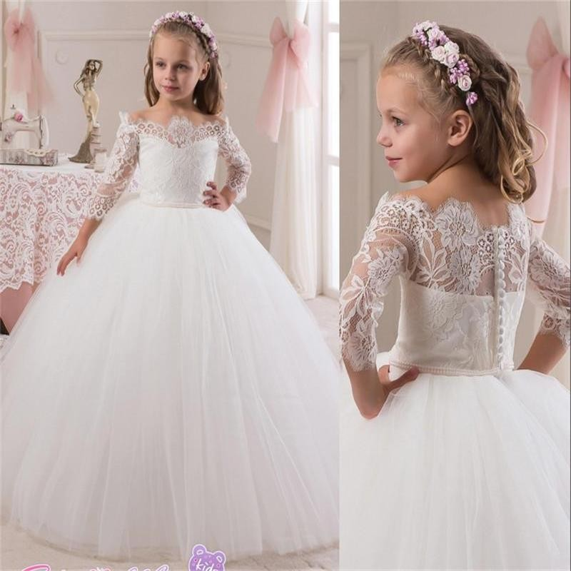 New 2017 Cheap Princess White Lace Flower Girls Dress 3/4 Sleeve Girls Formal Holly Communication Dress Party Custom China Made