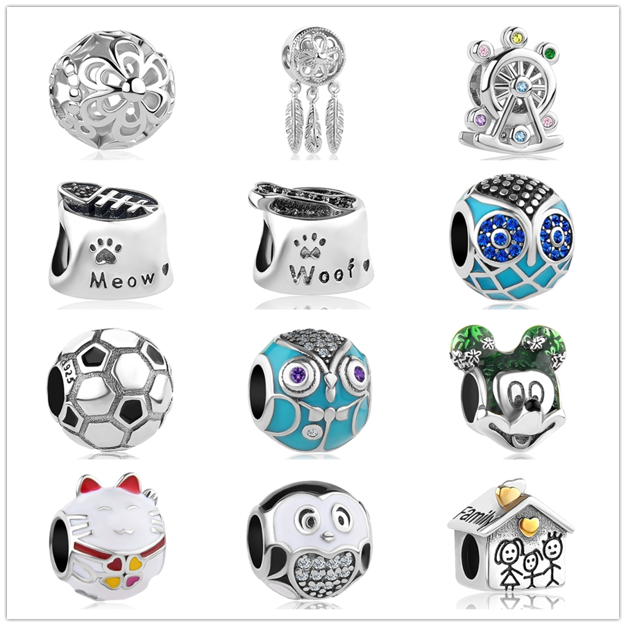 alloy owl Minnie Mickey family SPIRITUAL DREAMCAT Fit Original Pandora Bead Bracelet For Women Charm DIY Jewelry