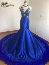 Hot feather dresses royal blue elegant mermaid evening gowns robe de soiree real made high quality cheap evening dress for party