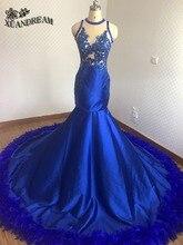 Vestidos de penas quentes azul real elegante sereia vestidos de noite robe de soiree real feito alta qualidade barato vestido de noite para festa