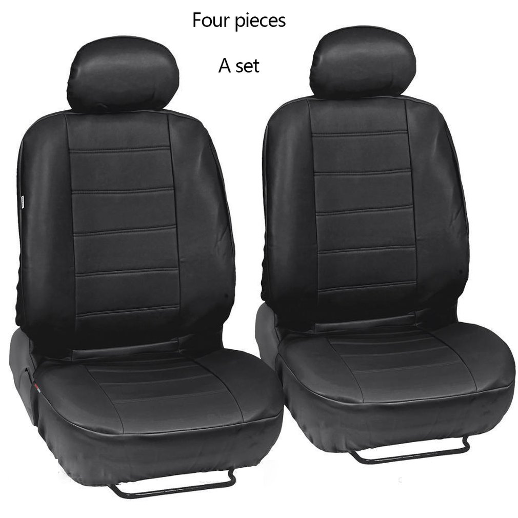 Black Leatherette Car Seat Covers Front Rear Full Set Side Airbag & Armrest Compatible Synthetic Leather Auto