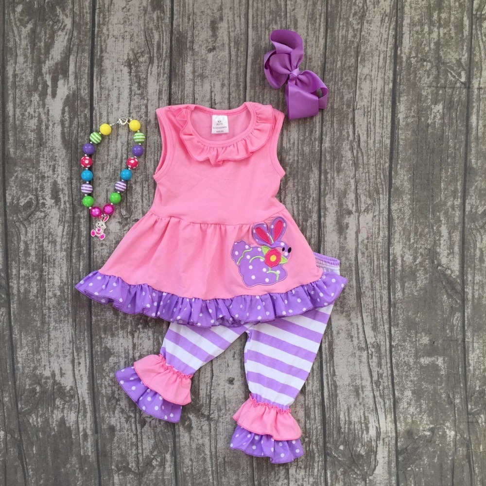 baby Ester day outfit girls Spring summer clothes suit short sleeves bunny pink purple stripe capris outfits with accessories