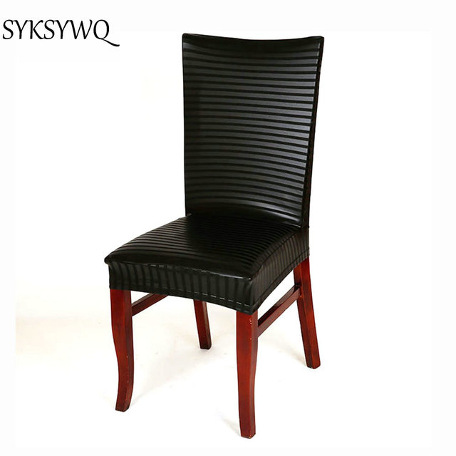 Drop Shipping Leather Office Chair Cover Recouvre Chaise Seat Cover Long  Black Dinning Chair Cover