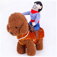 AINOLWAY Halloween Pet Dog Riding Horse Clothes Funny Cawboy Costume Pet Party Cospaly Funny Harness For