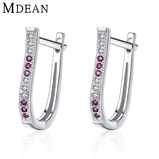 Mdean 1.8Gram Genuine 925 Sterling Silver Jewelry Ruby CZ Diamond Hoop Earrings for Women Gift Sterling-Silver-Jewelry MSE338