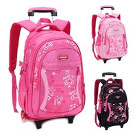 Children Trolley School Bag Backpack Wheeled School Bag For Grils Kids Wheel Schoolbag Student Backpacks Bags