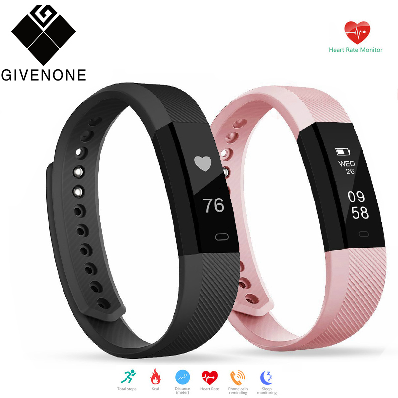 GIVENONE ID115HR Heart Rate Monitor Smart Band Watch Calorie Pedometer SmartWatch Call Alert Bluetooth Bracelet Fitness Tracker цены онлайн