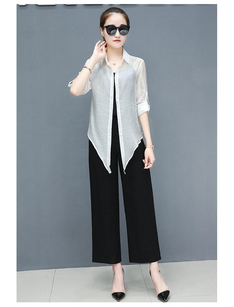 2019 Spring summer women sets office lady elegant chiffon blouse shirts+female wide leg pants trousers pantalon two piece sets 15