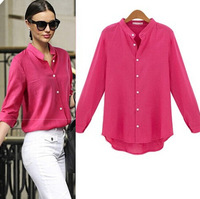 Discount Spring Spring And Summer Styles Cotton Linen Blouse With Long Sleeves Stand Collar Blouse Women