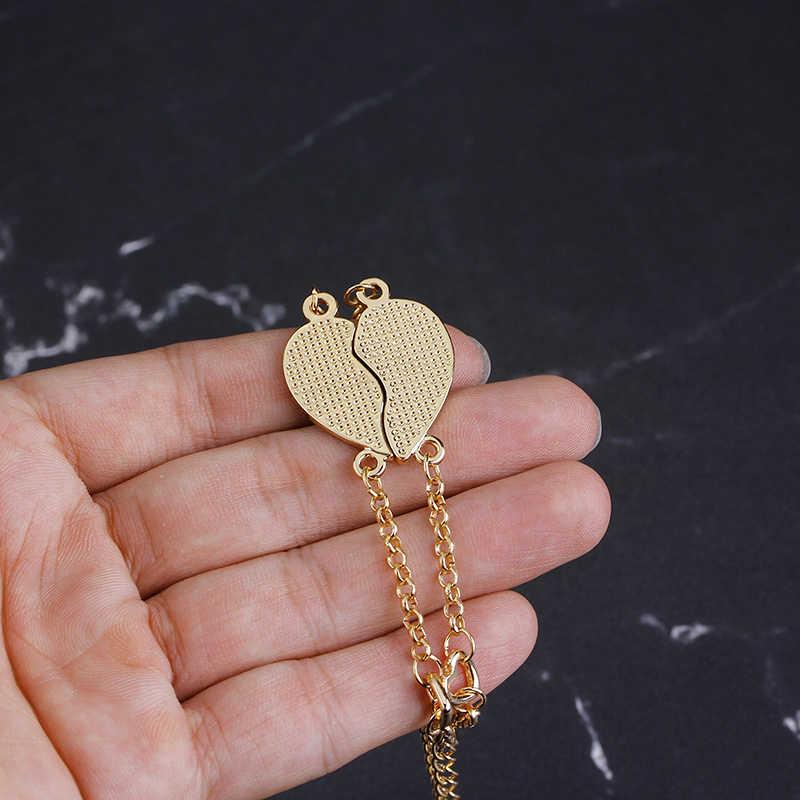Браслет в форме сердца bff, цепочка в форме сердца, подарок для лучшего друга, массивный браслет, модный очаровательный браслет, ювелирное изделие для душа сестры