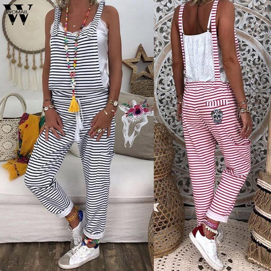 Womail bodysuit Women Summer Fashion Sleeveless Sexy Striped Simple Beach Sundress long   Jumpsuits   Holiday 2019 A29