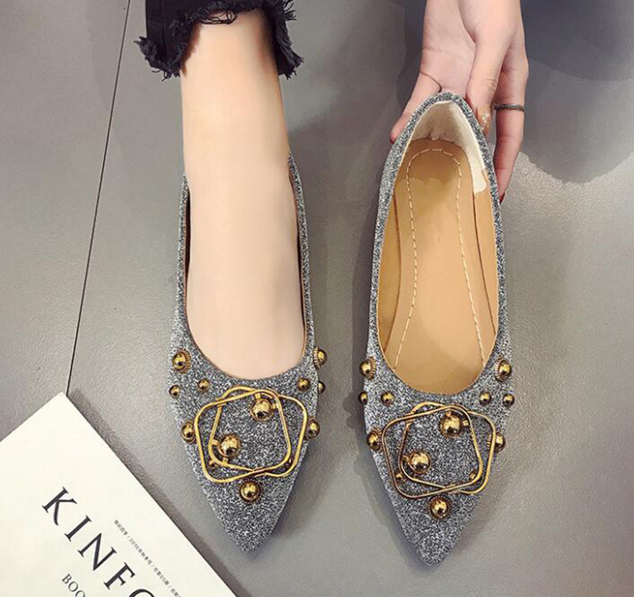 Peas Shoes Female Summer And Autumn New Pointed Flat Shallow Mouth Single Shoes Buckle Metal Buckle Sequins Women's Shoes Tide