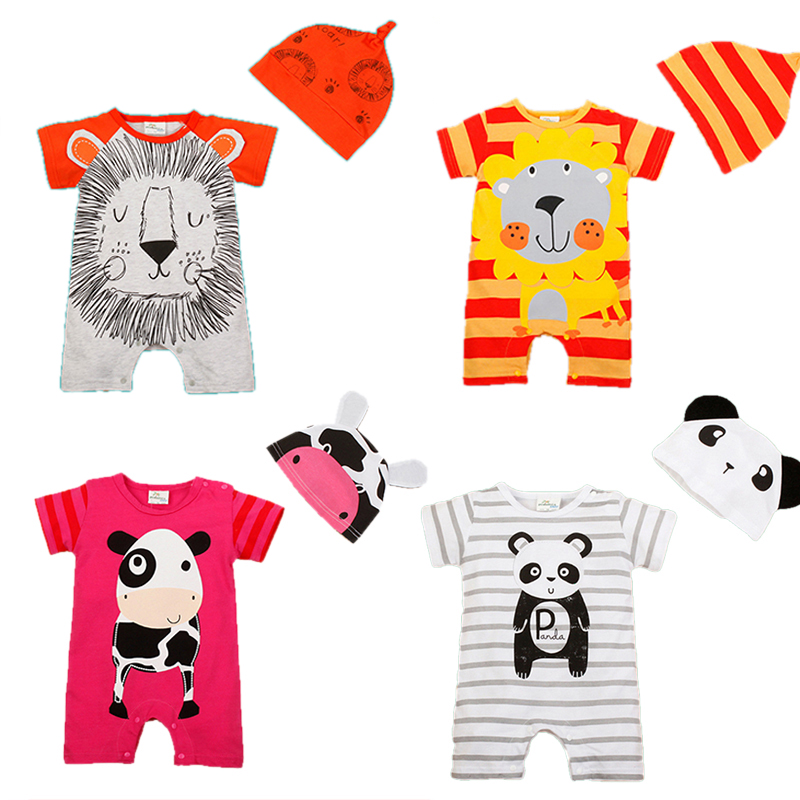 Newborn Baby Clothes Animal Style Infant Romper+Hat Baby Girls Clothing Set Cotton Tollder Kids Costume 2017 Baby Boy Rompers недорго, оригинальная цена