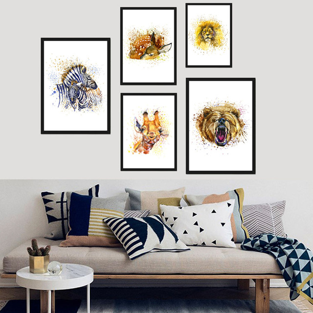 Frameless Watercolor Canvas Painting Lion Bear Wildlife Animals Decoration Pictures Poster For Living Room Home Decor